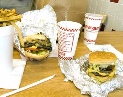 Five Guys Burgers and Fries, Moe's and Chipotle